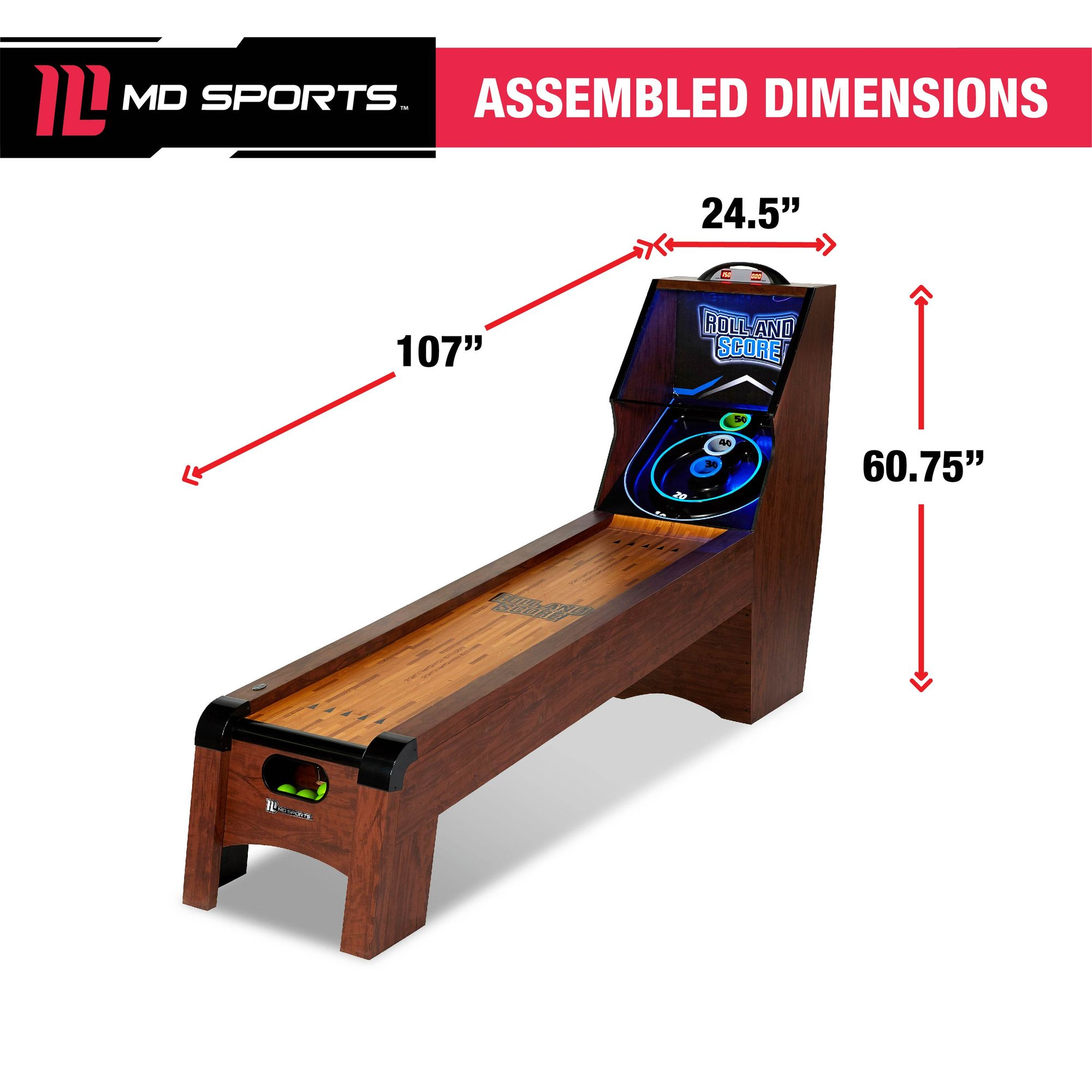 MD Sports 9 Ft  Roll and Score Table, Arcade Game, Includes 4 Skee Ball,  LED light
