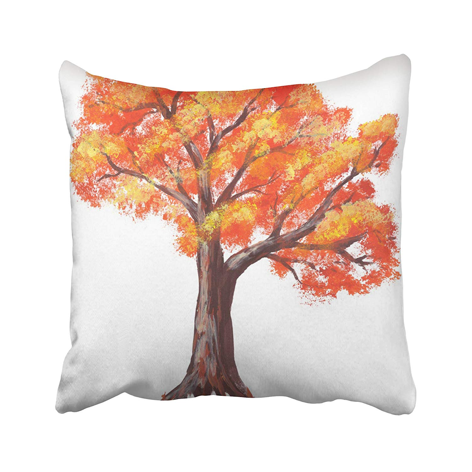 WOPOP Colorful Drawn Acrylic Vibrant Autumn Red Orange Tree White Watercolor Abstract Pillowcase Pillow Cushion Cover 16x16 inches