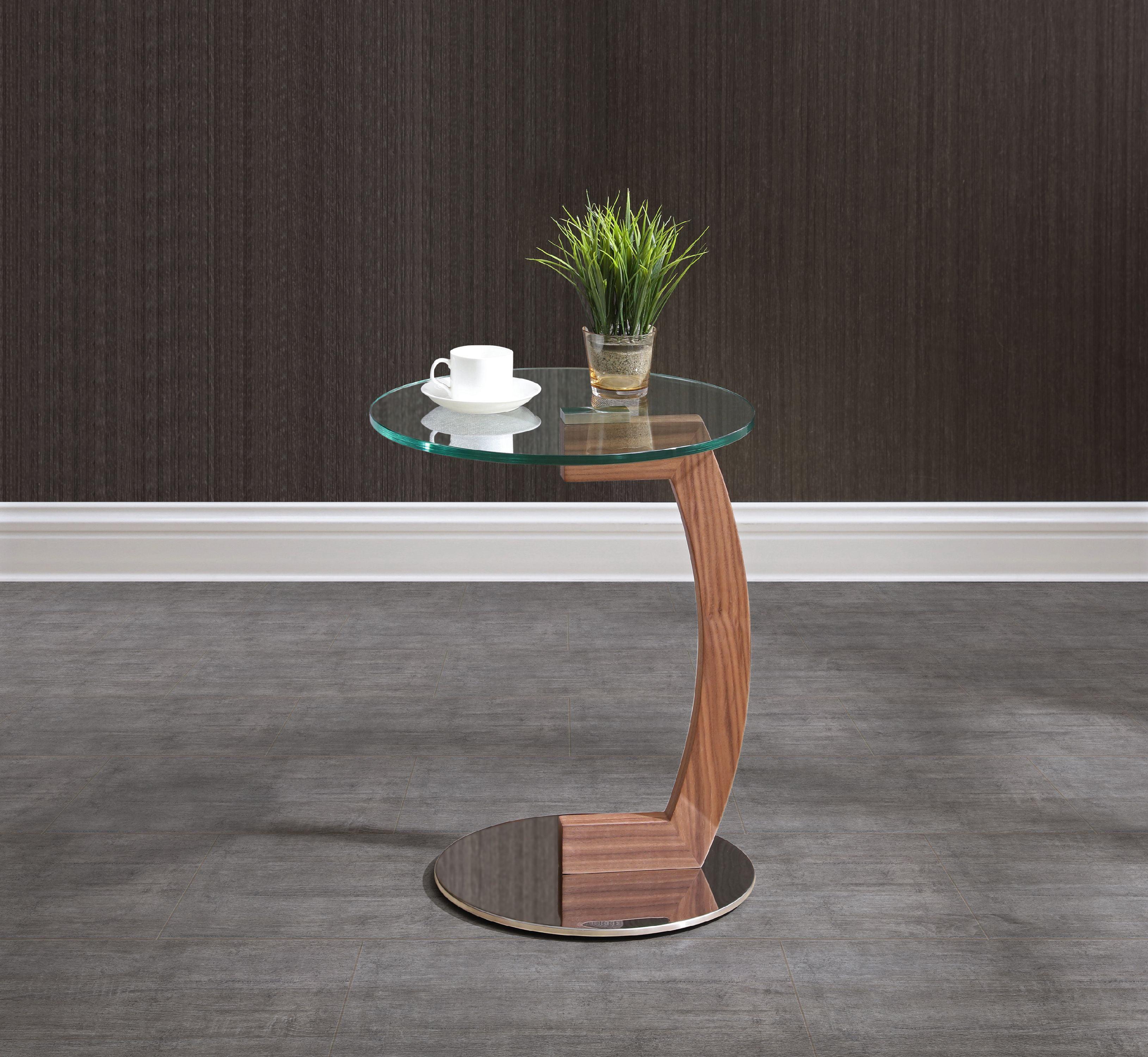 Whiteline Modern Living Light Brown Duval Contemporary Side Table Walmart Com