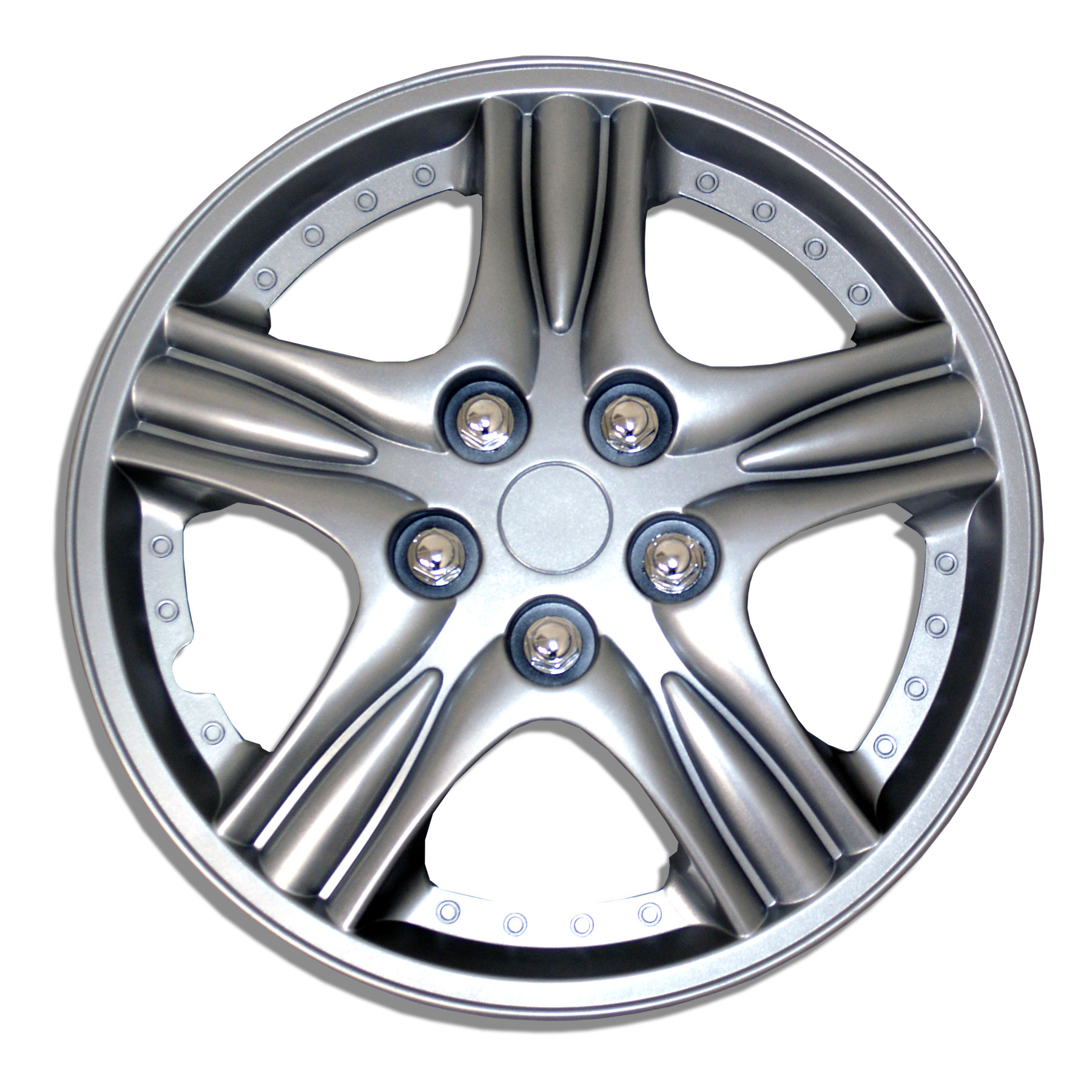 TuningPros WSC-523S15 Hubcaps Wheel Skin Cover 15-Inches Silver Set of 4