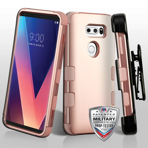For LG V30 TUFF Shockproof Hybrid Protector Shell Cover Case with Holster Combo