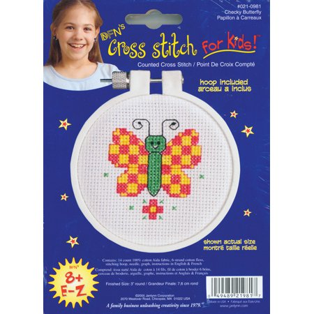 - Butterfly Check Mini 14-Count Cross-Stitch Kit, 3