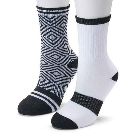 So Women Crew Socks 2 Pair Grey/Black/White 9-11 (Best Fabric For Socks)