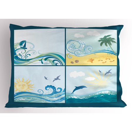 Beach Pillow Sham Maritime Themed Frames with Waves Sun Trees Dolphins Birds Exotic Sea Pattern, Decorative Standard Size Printed Pillowcase, 26 X 20 Inches, Blue Beige Green, by Ambesonne