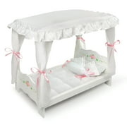Badger Basket Canopy Doll Bed with Bedding - White Rose - Fits Most 18 Dolls   My Life As