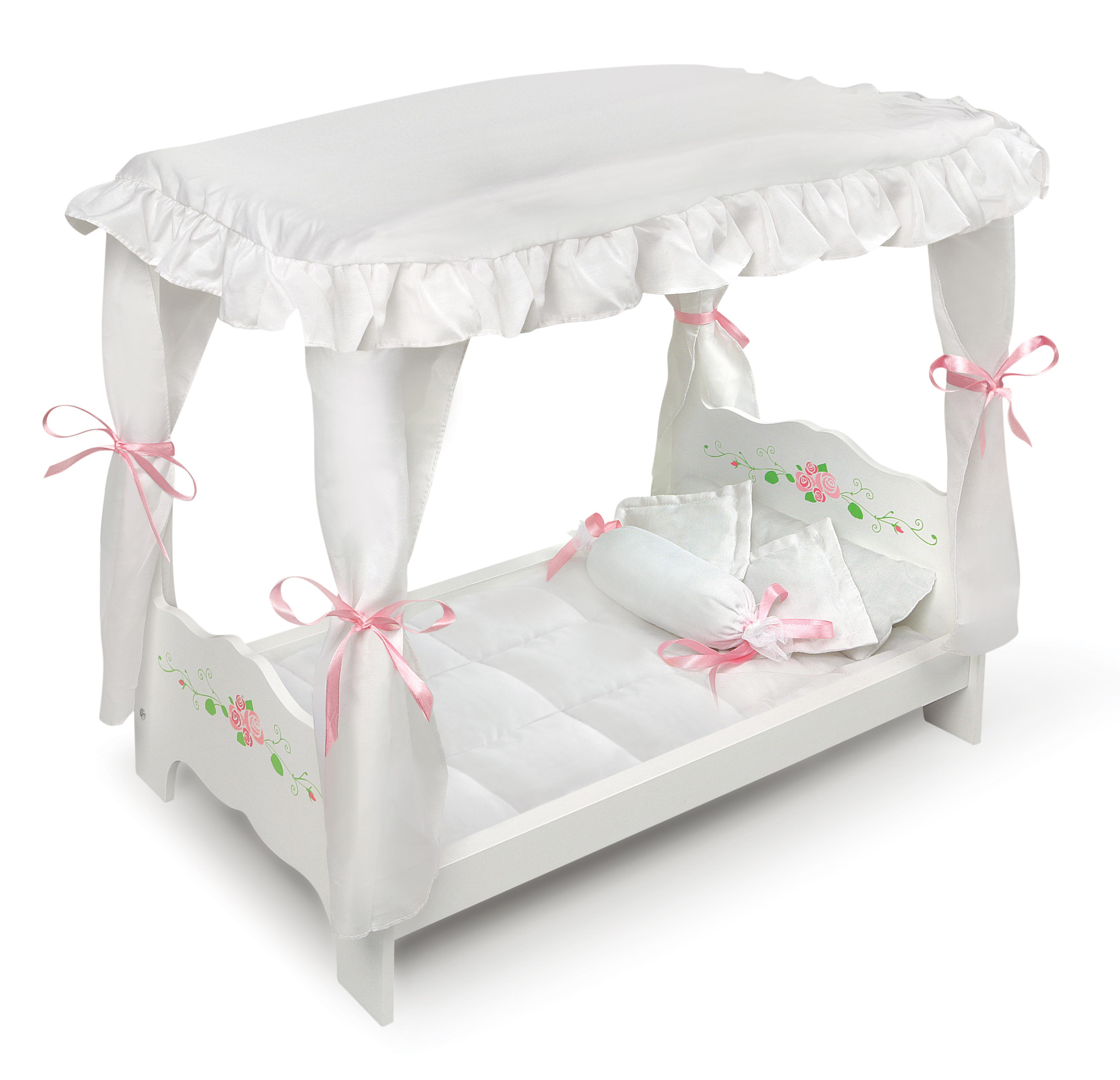"""Badger Basket Canopy Doll Bed with Bedding - White Rose - Fits American Girl, My Life As & Most 18"""" Dolls"""