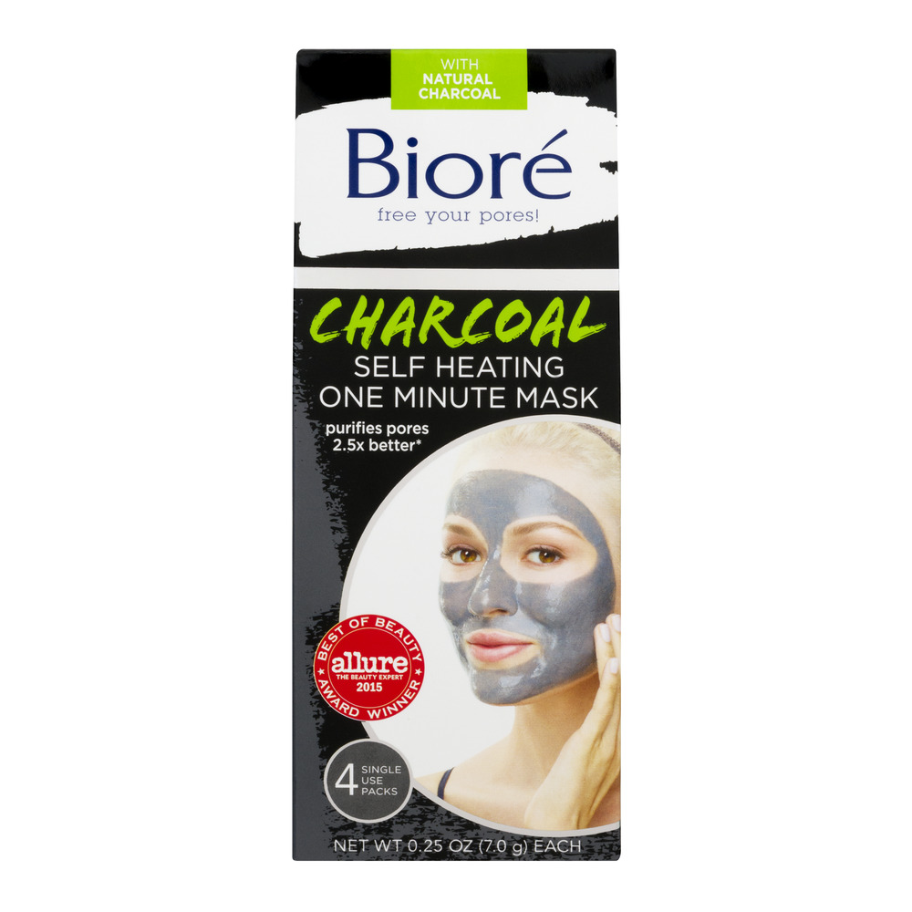 Biore Charcoal Self Heating One Minute Mask - 4 PK, 7.0 G - Walmart.com