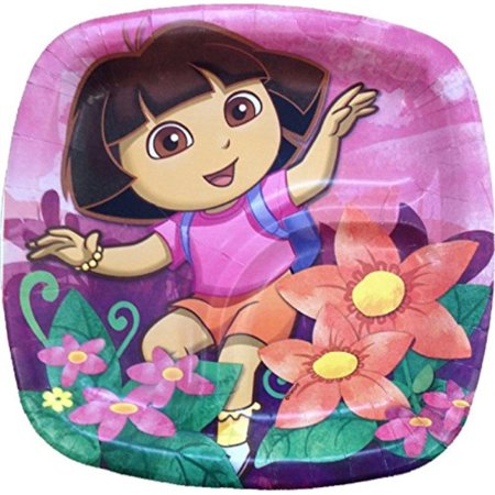 Dora The Explorer Halloween Party Supplies (Dora the Explorer 'Floral' Small Paper Pocket Plates)