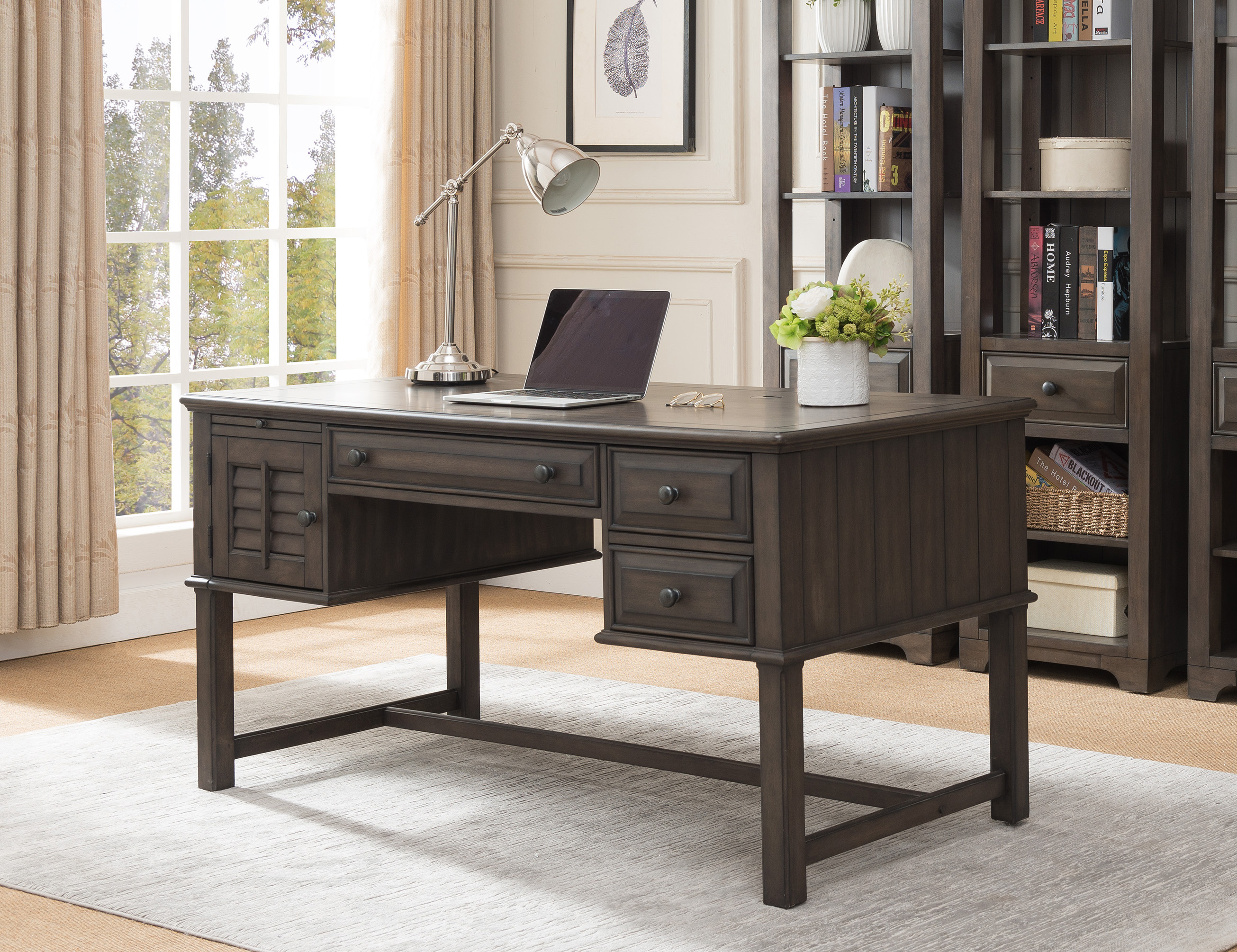 Merveilleux Alois Home U0026 Office Workstation Computer Desk, Distressed Gray Wood,  Rustic, With Storage Cabinets U0026 Drawers