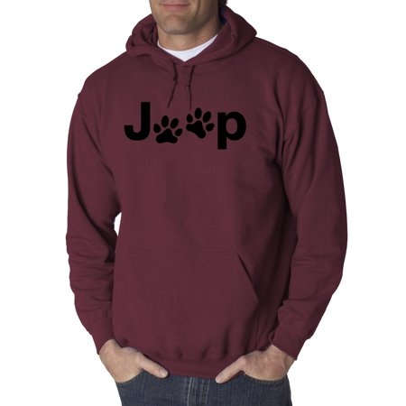 Jeep Wrangler Sweatshirts (New Way 1172 - Adult Hoodie Jeep Dog Paws Logo Sweatshirt Medium Maroon )