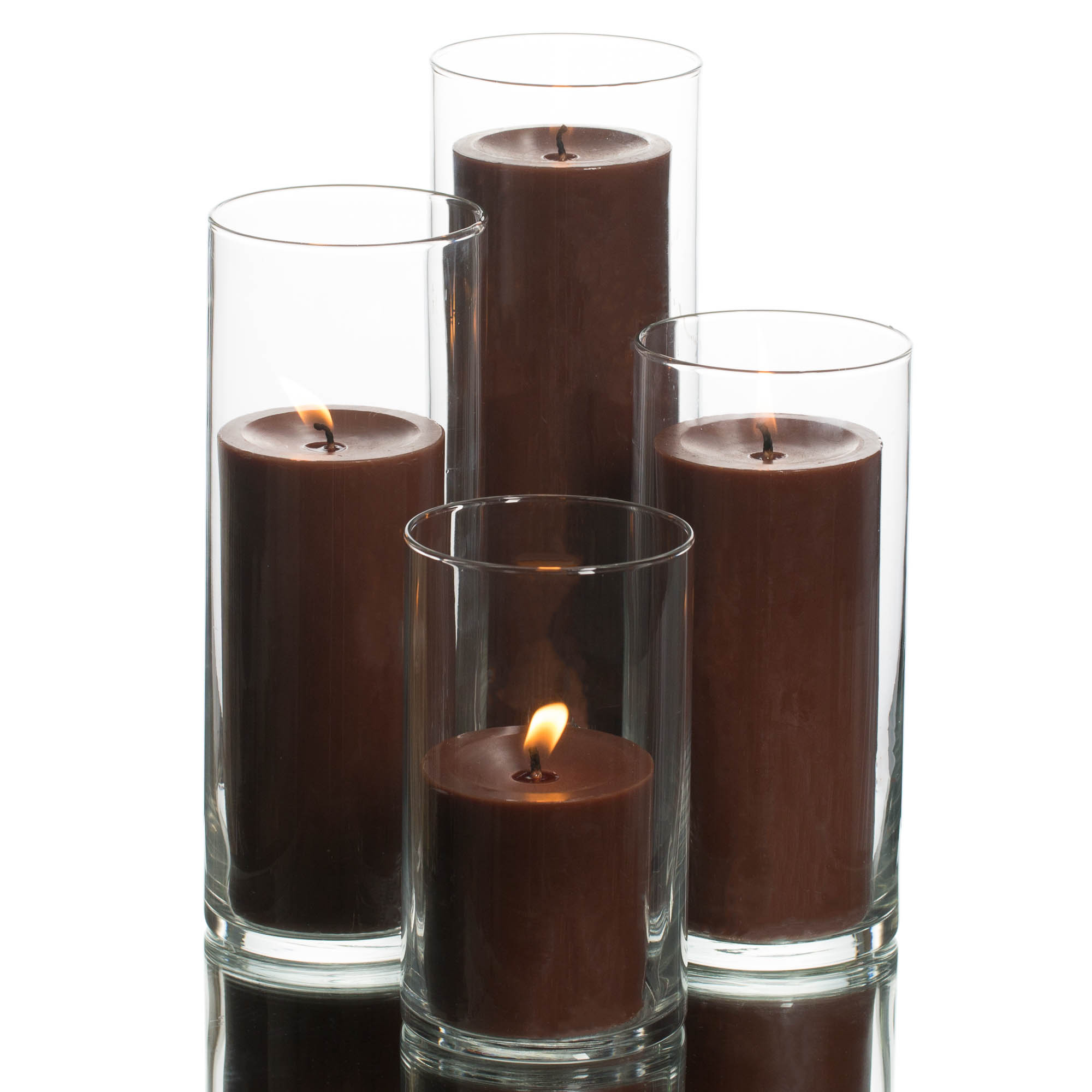 Richland Pillar White Candles & Eastland Cylinder Holders Set of 48