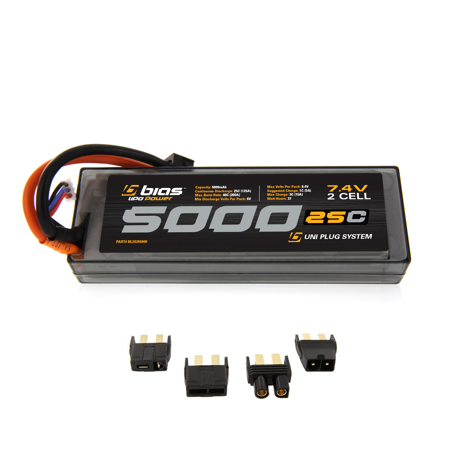 Bias LiPo Battery for Traxxas E-Maxx 25C 2S 5000mAh 7.4V LiPo Hard Case (EC3/Deans/Traxxas/Tamiya Plug) for RC Car, Truck, Buggy, Boat, Heli and Drone