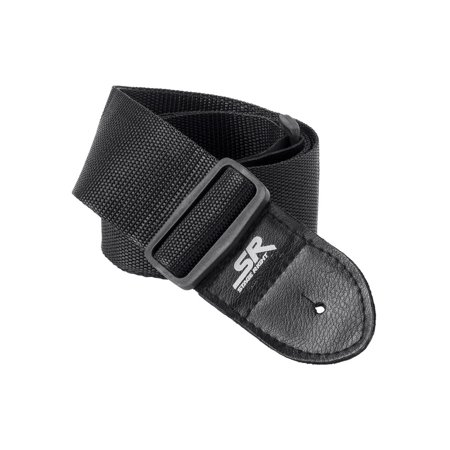 Monoprice Guitar Strap - 2 Inch - Black | With Synthetic Leather Ends, made of a smooth nylon  - Stage Right Series