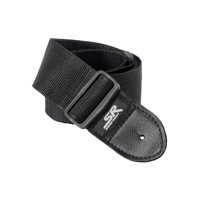 Monoprice Guitar Strap - 2 Inch - Black   With Synthetic Leather Ends, made of a smooth nylon  - Stage Right Series