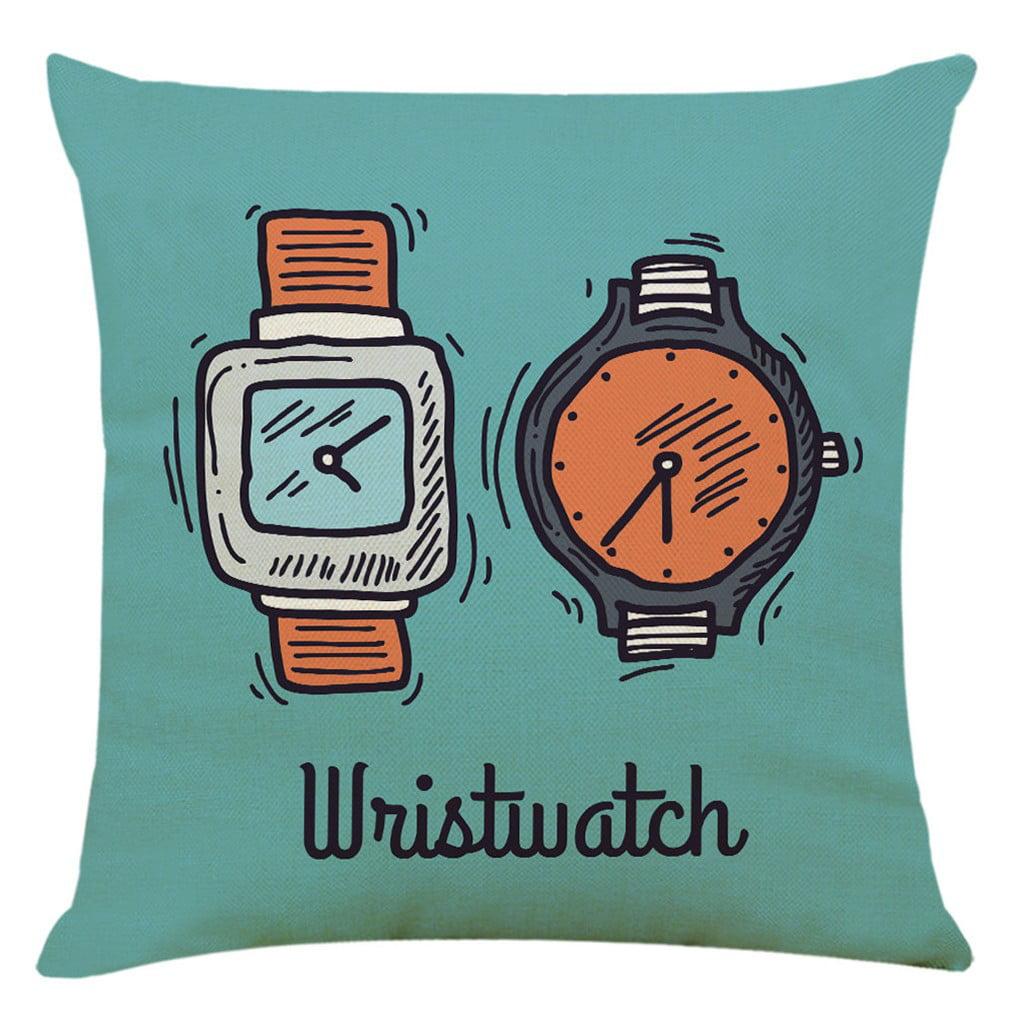 Bowake Home Decor Cushion Cover Time Watch Clock Pillowcase Throw Pillow Covers Walmart Com Walmart Com