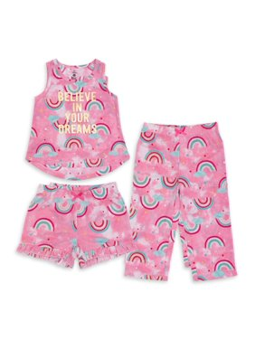 Petit Lem Girls 6-14 Rainbow 3-Piece Pajama Set