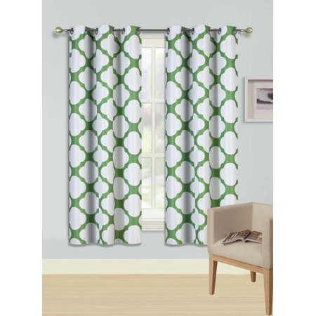 F15 Green 2 Pc Printed Blackout Room Darkening Window