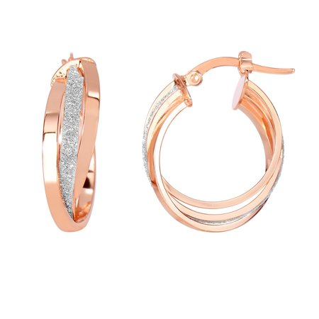 46393ce1098 JewelryWeb - 14k Rose Gold Shiny 3-row Small Round Hoop Earrings With White  Glitter With Hinged Clasp - 2.7 Grams - Walmart.com