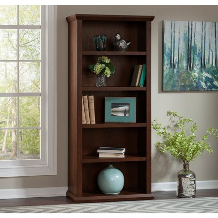 - Bush Furniture Yorktown 5 Shelf Bookcase in Antique Cherry