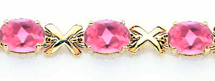 14k 7x5mm Oval Pink Tourmaline bracelet by Best Price Product