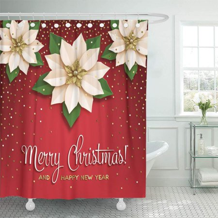 KSADK Bethlehem Christmas Star with Poinsettia White with Gold Flower with Inscription on Red with Confetti Bow Shower Curtain Bathroom Curtain 60x72 inch ()