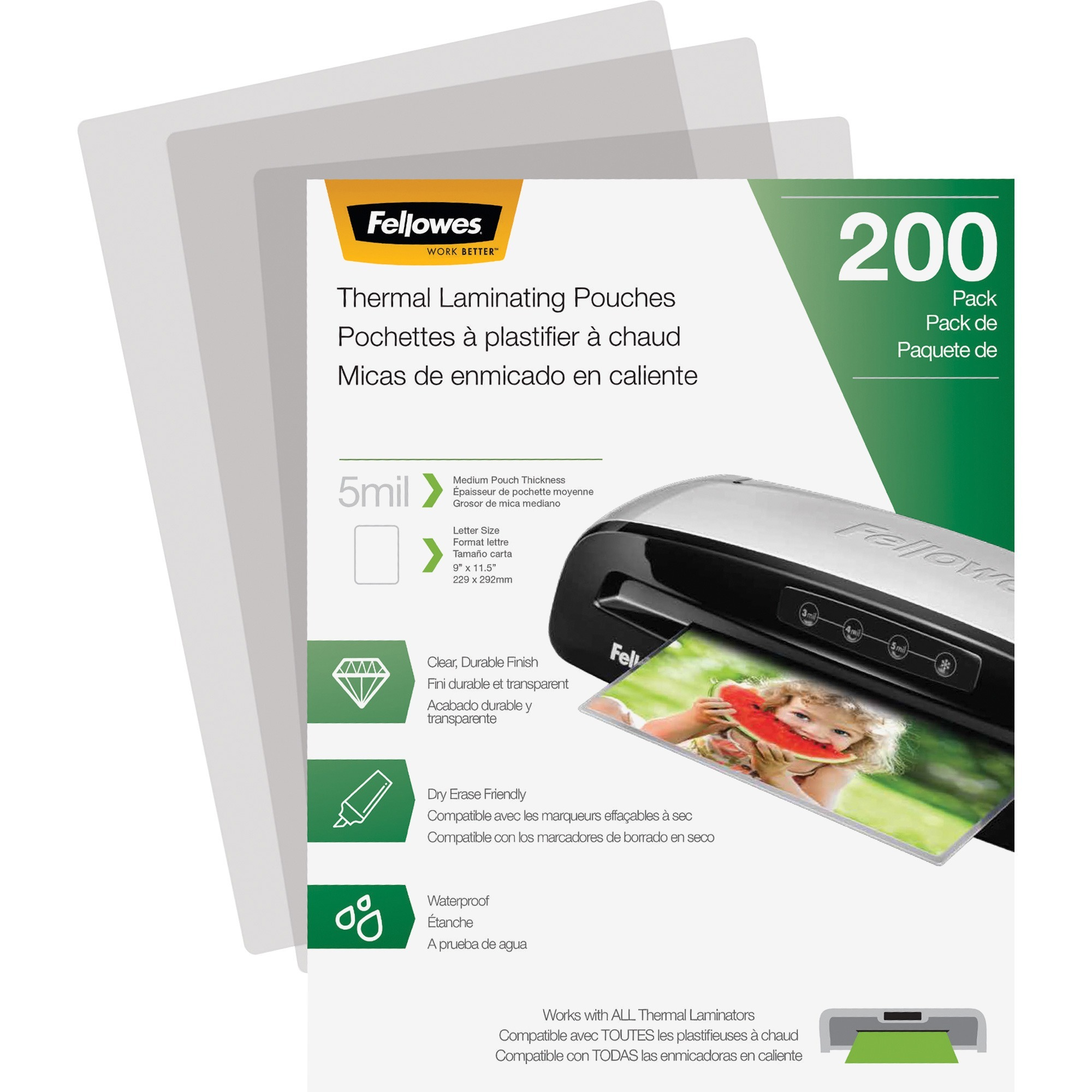 Fellowes Laminating Pouches - Letter, 5 mil, 200 Pack, 200 / Pack, Clear