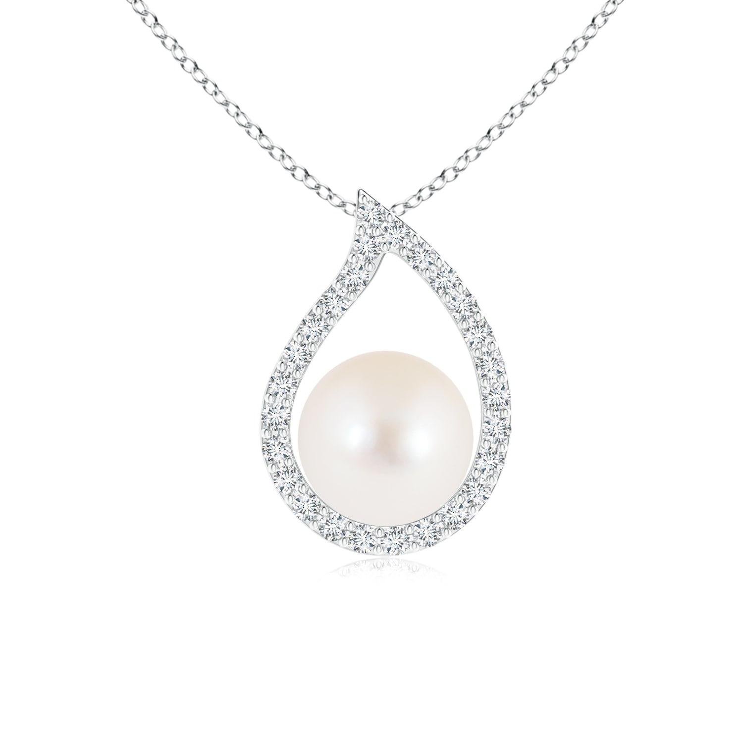 June Birthstone Paisley Framed FreshWater Cultured Pearl Pendant Necklace for Women with Diamonds in Silver (Pearl Size... by Angara.com
