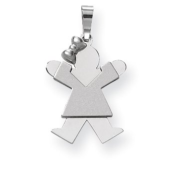 14k White Gold Small Girl w/Bow on Left Engravable Charm XK305 (25mm x 15mm) - image 2 of 2