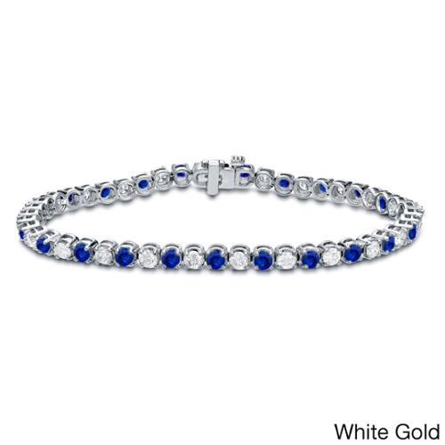 Auriya 14k Gold 3 1 2ct Blue Sapphire and 3 1 2ct TW Diamond Tennis Bracelet (H-I, SI1-SI2) by Overstock
