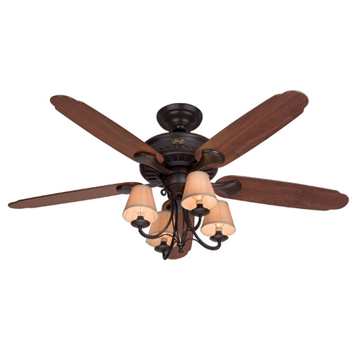 Hunter Fan Company 53094 Cortland Ceiling Fan with 5 Dark Cherry Walnut Blades and Light... by Hunter