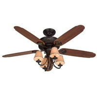 "Hunter Fan Company 53094 Cortland Ceiling Fan with 5 Dark Cherry/Walnut Blades and Light Kit, 54"", New Bronze"