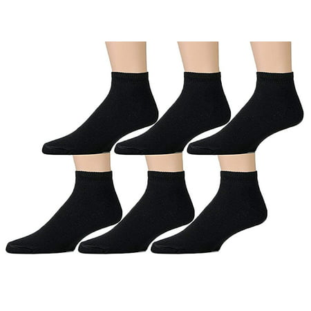 6 Pairs Value Pack of Wholesale Sock Deals Womens Ankle Socks, Black, 9-11