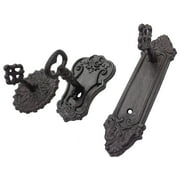 Lulu Decor, Cast Iron Antique Key Shaped Set of 3 Hooks in Different Style, Strong Heavy Decorative Hooks in Black, Useful and Elegant Wall Decor, Perfect for Housewarming Gifts/Holiday Gifts (Roman)