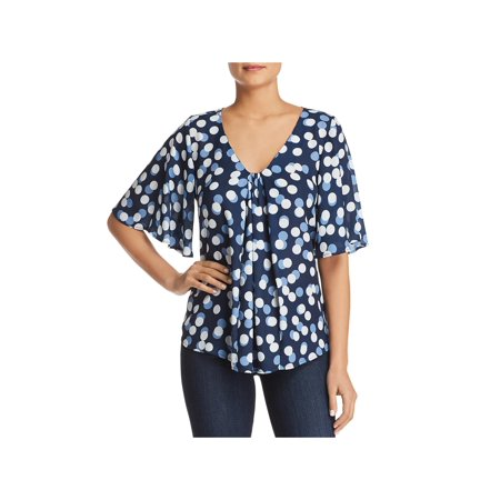 B Collection by Bobeau Womens Presley Polka Dot Pleated Blouse