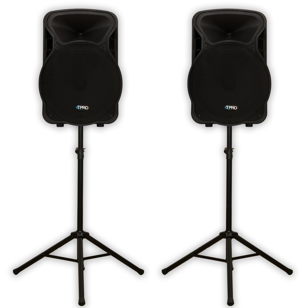 """Technical Pro PVOLT15 Two Way PA DJ 15"""" Active 3000 Watt Speaker Pair and Stands PVOLT15-PK2"""