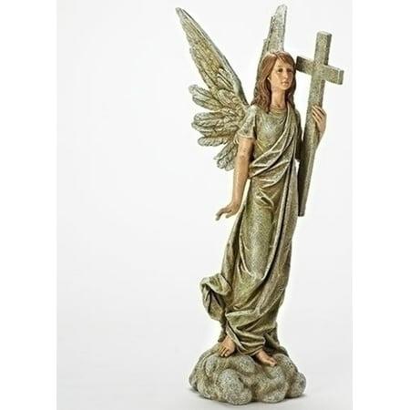 """25"""" Josephs Studio Angel Holding Cross Garden Statuary"""