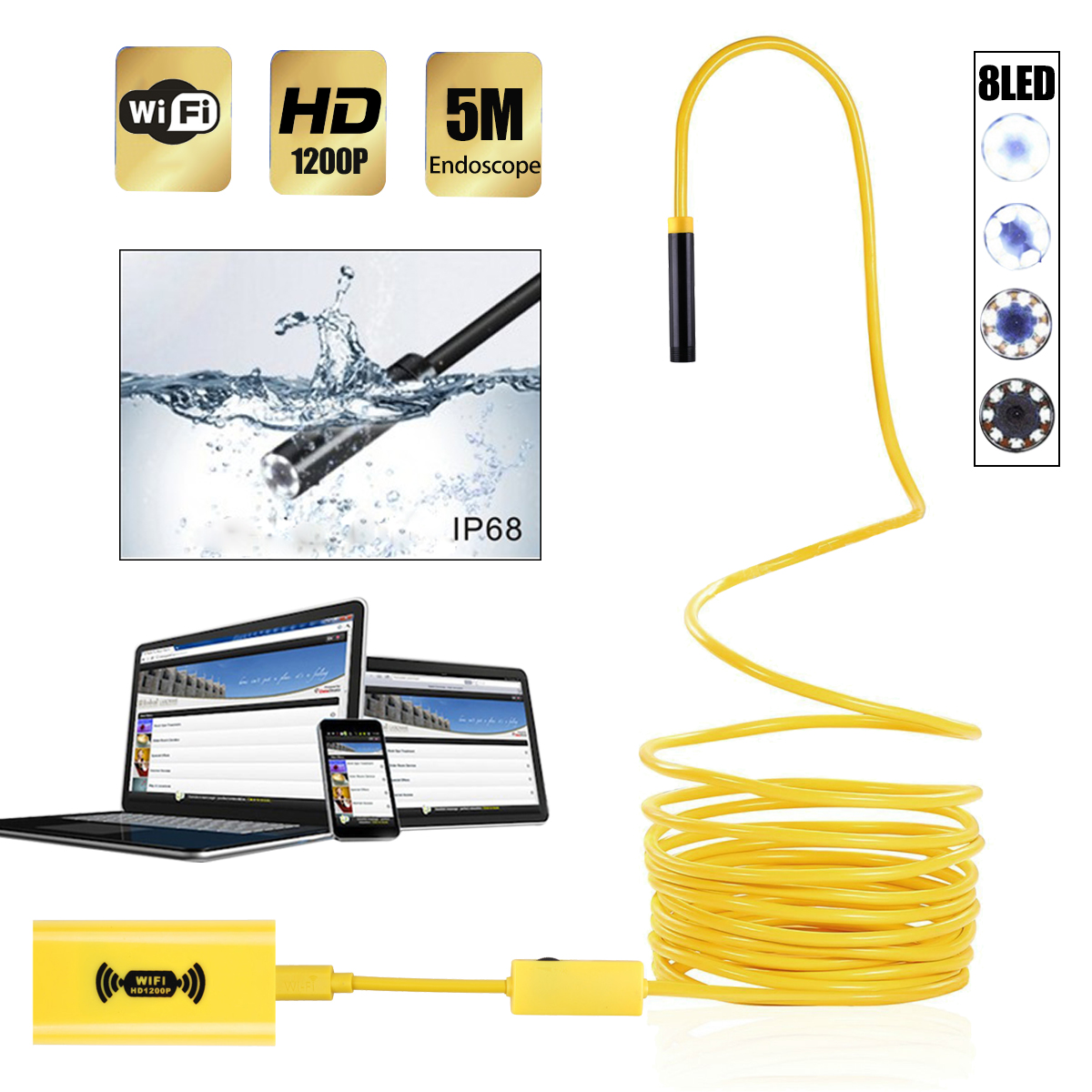 5M Wireless Endoscope 8 LED WiFi Borescope Inspection Camera 2.0 Megapixels 1200P HD Waterproof Snake Camera for Android & iOS
