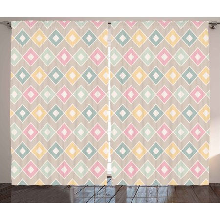 Geometric Curtains 2 Panels Set, Pop Art Stylized Soft Toned Creative Figures with Diamond Triangles Concept Image, Window Drapes for Living Room Bedroom, 108W X 63L Inches, Multicolor, by Ambesonne ()
