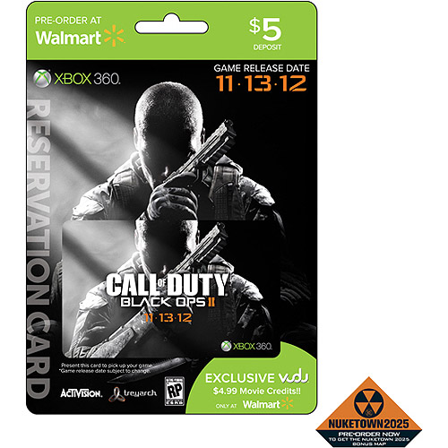 Call of Duty: Black Ops II $5 Pre-Sale Deposit Card for In-Store Pickup (Xbox 360) w/ Bonus VUDU Movie Credits (a Wal-Mart Exclusive) and Nuketown 2025 Multiplayer Map