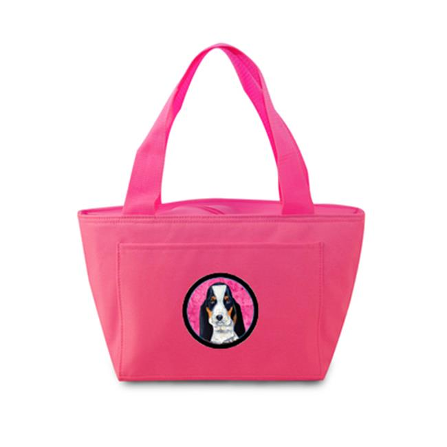 Pink Basset Hound Zippered Insulated School Washable And Stylish Lunch Bag Cooler