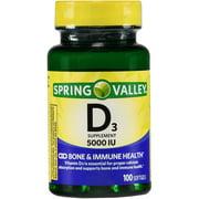 Spring Valley Vitamin D3 Softgels, 5000 IU, 100 Count