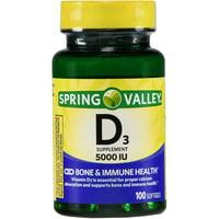 Spring Valley Vitamin D3 Softgels, 5000IU, 100ct
