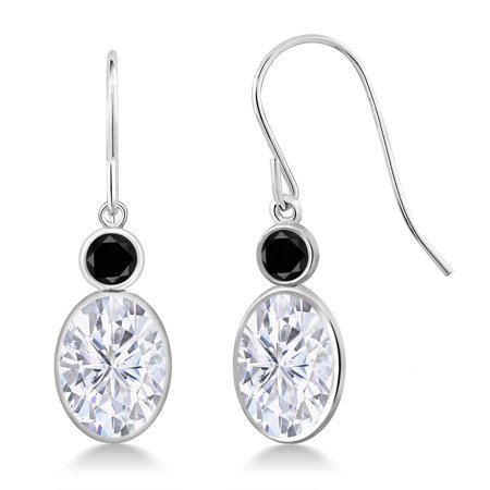 14K White Gold Earrings Forever One GHI Oval Created Moissanite and Diamond