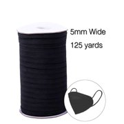 Selfieee 4-6mm 125 Yards Braided Elastic Cord/Elastic Band DIY Mask Heavy Stretch Knit Elastic Spool 00150 Black