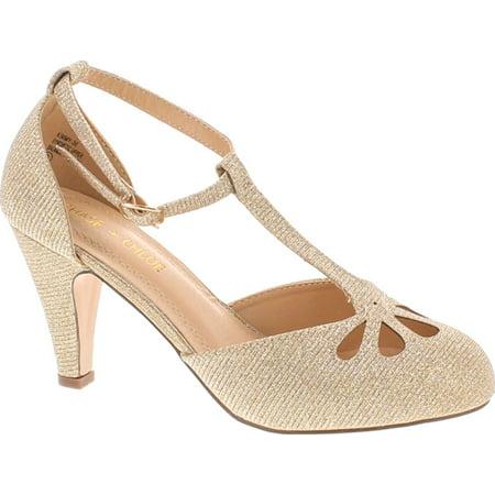 Static Footwear Kimmy-36 Women's Teardrop Cut Out T-Strap Mid Heel Dress (Leopard Patent Footwear)