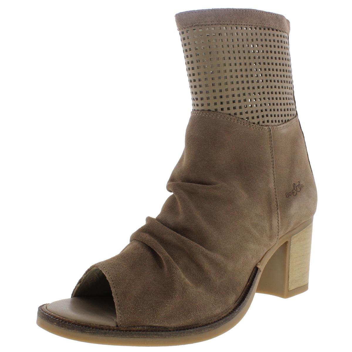 Bos. & Co. Womens Celine Suede Peep Toe Ankle Boots