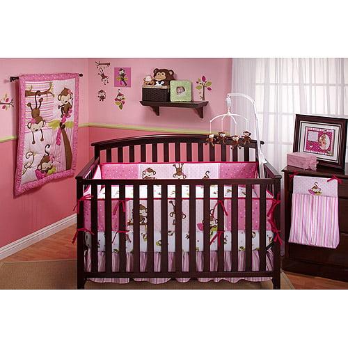 Little Bedding by NoJo 3 Little Monkeys 10pc Nursery in a Bag Crib Bedding Set, Girl