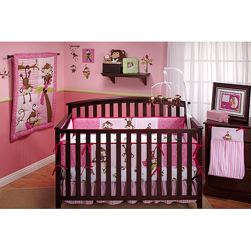 Little Bedding by NoJo 3 Little Monkeys 10pc Nursery in a Bag Crib Bedding Set, Girl