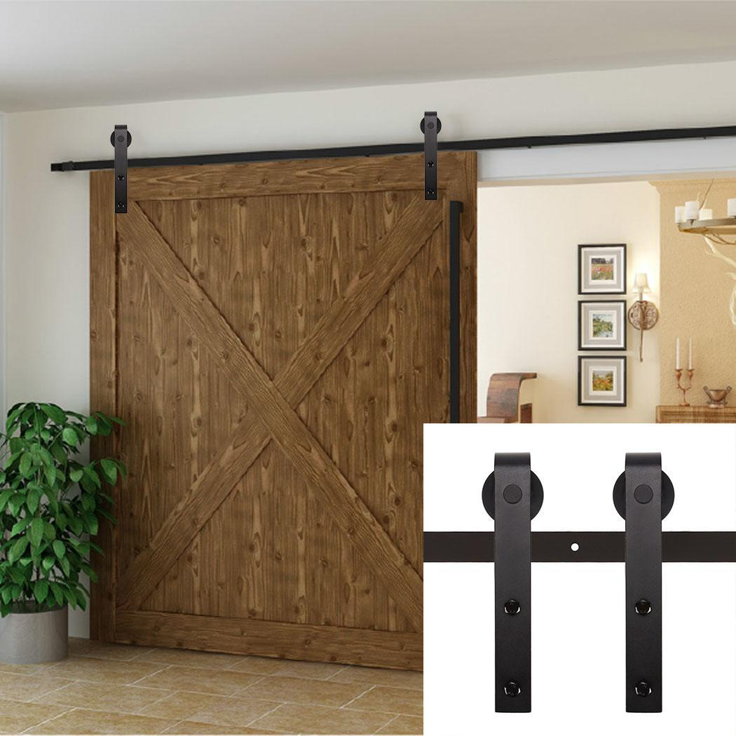 Modern 6.6FT Door Closet Hardware Set Kit Steel Sliding Slide Rail Barn Wood(The Door is not included)ECBY