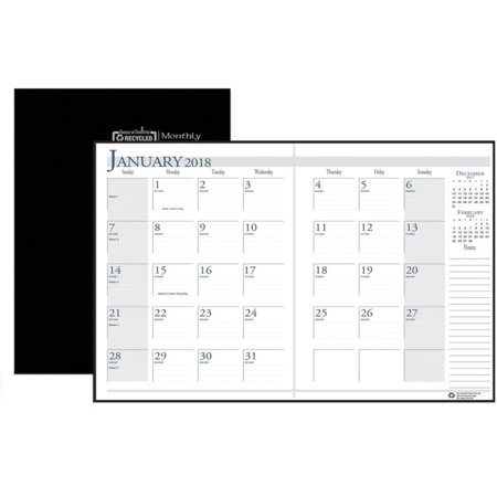 House of Doolittle Compact Economy Monthly Planner - Julian - Monthly, Weekly, Daily - 1.2 Year - December 2017 till January 2019 - 1 Month Double Page Layout - Sewn - Black - Leatherette - Black - No (Doolittle Compact)